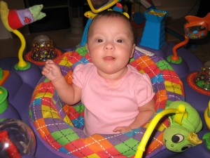 Miss Maggie had a blast in the exersaucer!