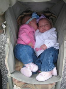 Maggie and Evie cuddling in the stroller.