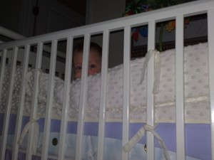 Evie wants to figure out how to scale the crib...Uh-Oh!!!!