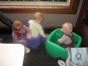 Bowman, Anna, and Josh in the Choo-Choo!