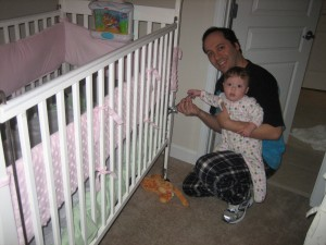 Maggie helped Daddy lower her crib!