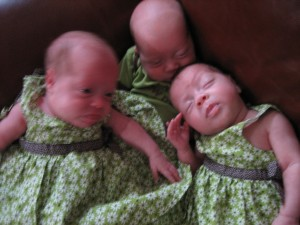 Maggie, Josh, and Evie are six weeks old here!