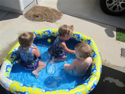 Evie, Maggie, and Josh in the pool!