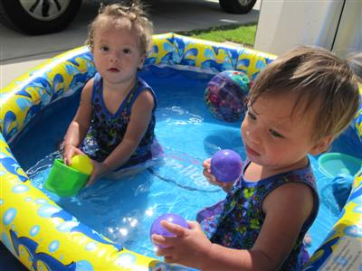 My girls are swimming in their shirts!