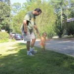 Daddy and Maggie are on a walk!