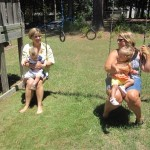 Mimi, Josh, Aunt Ashley, and Maggie are swinging!